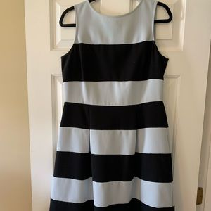 Loft periwinkle and black stripe mid length dress.